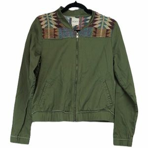 Roxy Aztec army green medium jean jacket